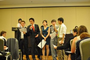 Senior Gloria Li, along with several other students, present their resolution at HMUN in Boston.