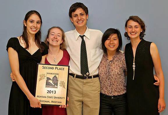 Malini Gandhi '13, juniors Kaija Gahm and Kavish Gandhi, and seniors Ying Gao and Eliana Gevelber pose with their Second Place award.
