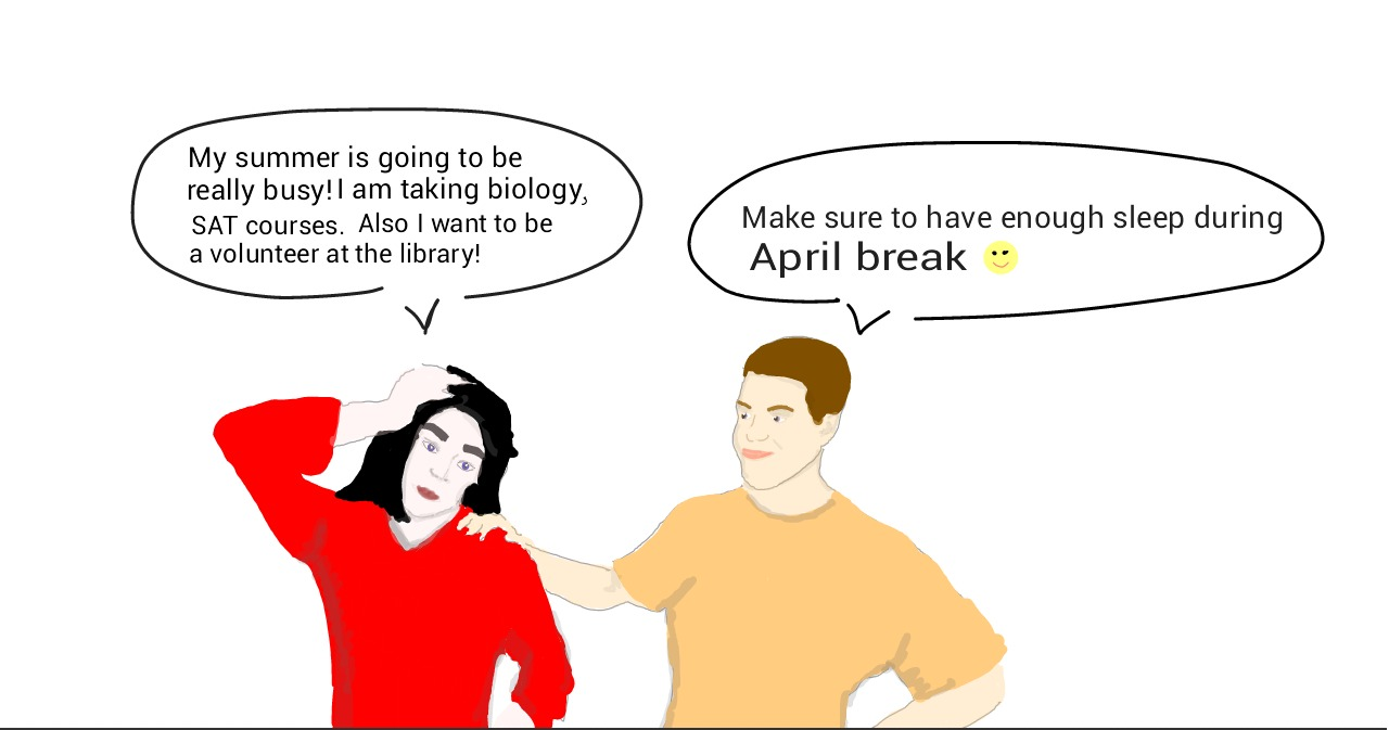 Make sure to get a lot of rest over April Break. Graphic by Maria Melissa and Mary Solovyeva.