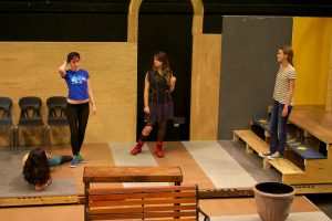 "Cast members of ""Much Ado About Nothing"" rehearse. Photo by Josh Shub-Seltzer."