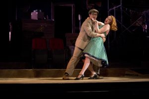 "Juniors Jonathan Gomolka and Ashley Campbell perform in ""Blood Brothers."" Photo by Robin Donohoe."