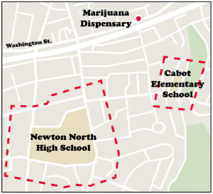 Newton laws prohibit marijuana dispensaries within a 500 foot radius from any school. Graphic by Maria Trias.