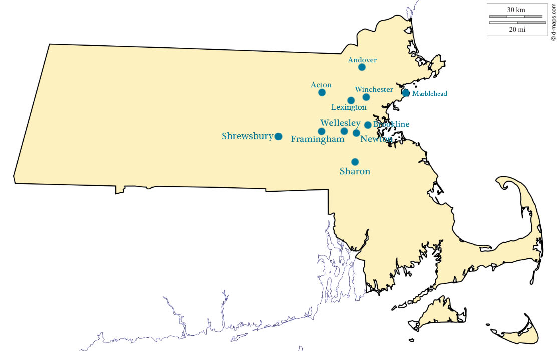 Eleven RSM locations serve Massachusetts towns. Graphic by Maria Trias.