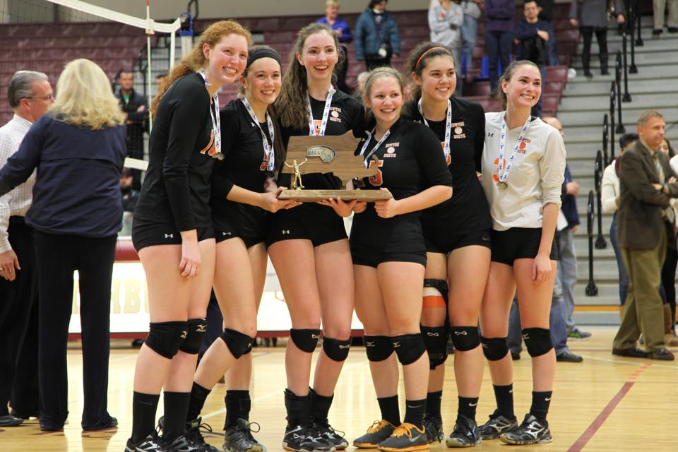 Seniors Kristen Copley, Bali Connors, Tess Simmons, Marisa Salvucci, Madeleine Lundberg, and Sammy Marcus hold the championship trophy. Photo courtesy of Marcus.