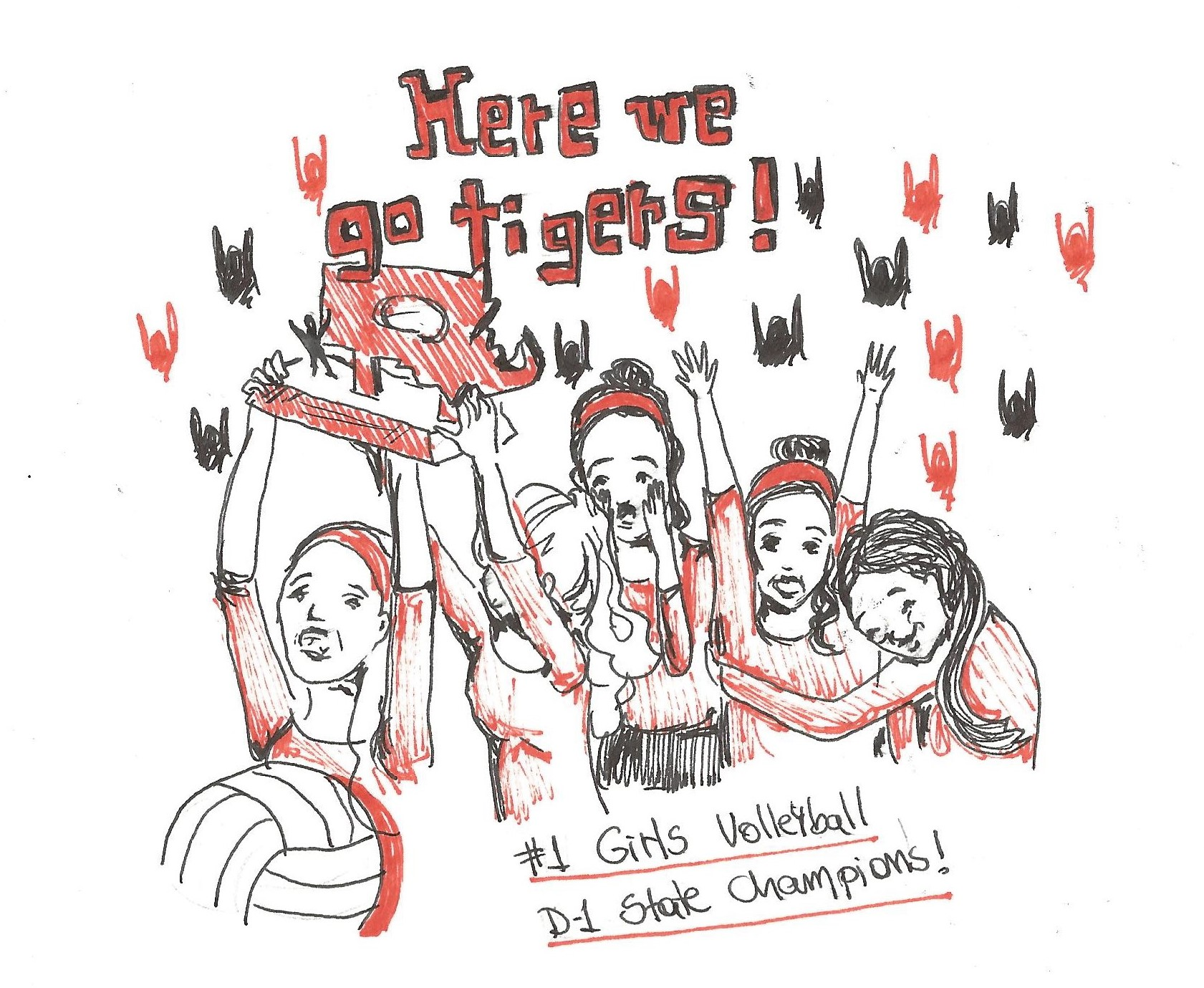 Congratulations to girls' volleyball, who won the State Tournament on Saturday! Cartoon by Maria Melissa and Mary Solovyeva.