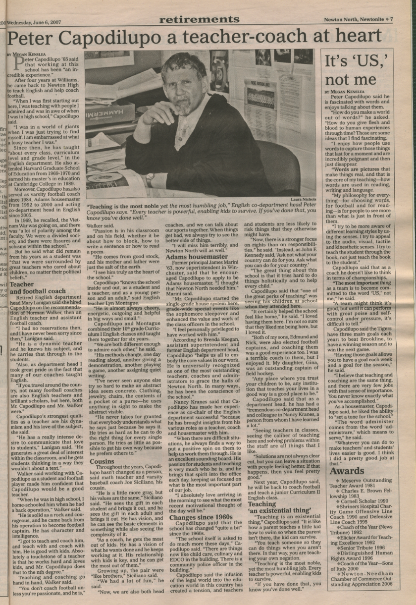 Peter Capodilupo's retirement  article from the Wednesday, June 6, 2007 issue of the Newtonite.