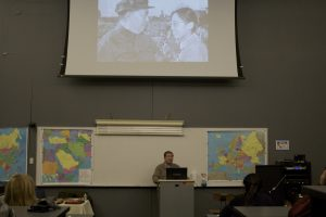 Research associate Juwen Zhou speaks about his experience in the China Cultural Revolution. Photo by Josh Shub-Seltzer.