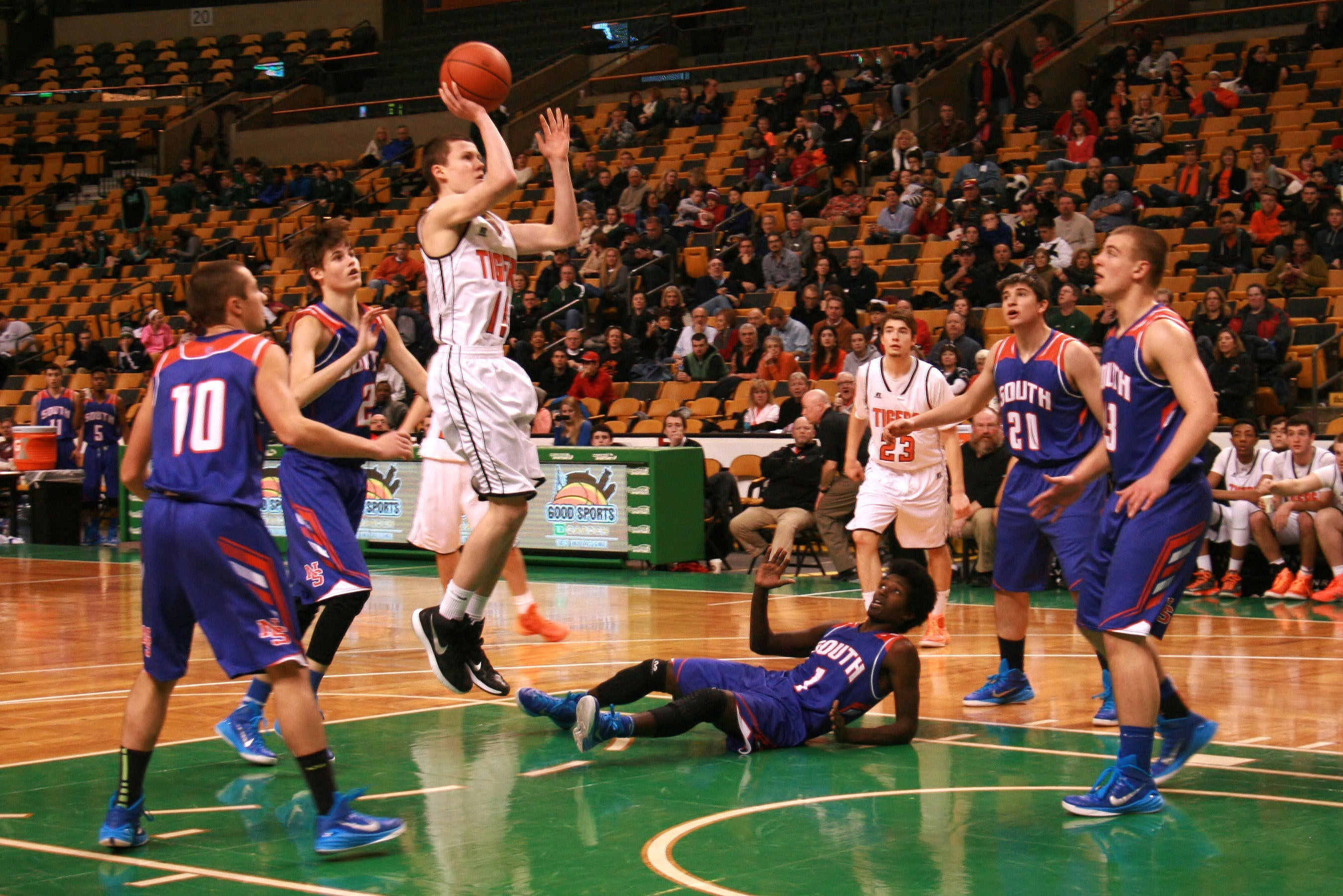 Freshman Ethan Wright drives for a basket last Saturday at the TD Garden in a 61-46 win over South.