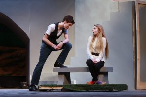 Freshman Jonathan Champion and sophomore Liana Glennon practice a scene. Photo by Devin Perlo.