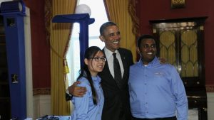 Karen Fan and Felege Gebru at the White House Science Fair (Courtesy of Sue Brooks and Design students)