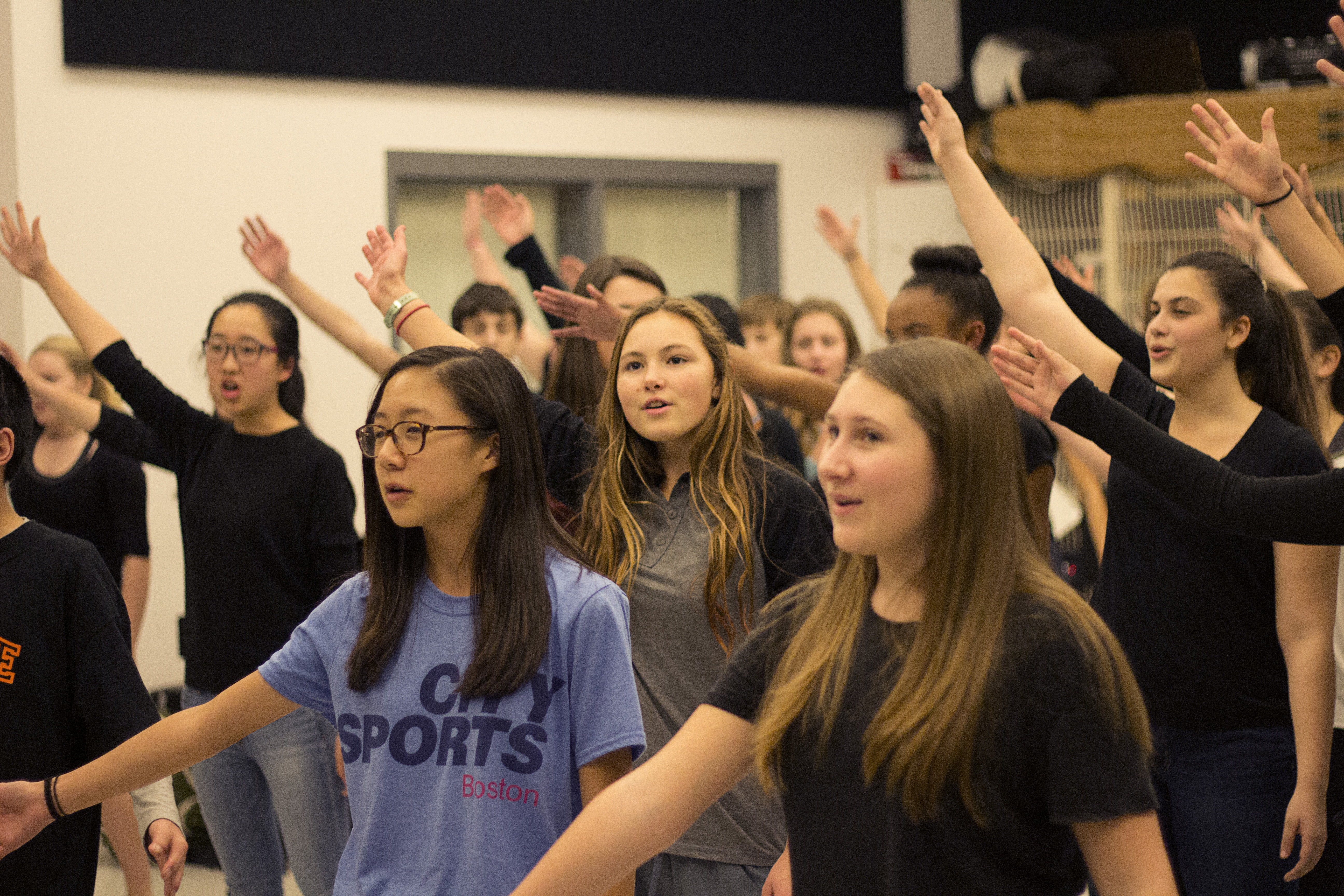 The cast of Freshman Cabaret rehearses one of the full cast numbers last Thursday, Nov. 19.