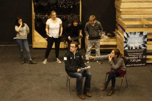 Members of Nitrous Oxide rehearsing a sketch Thursday, Jan. 28.