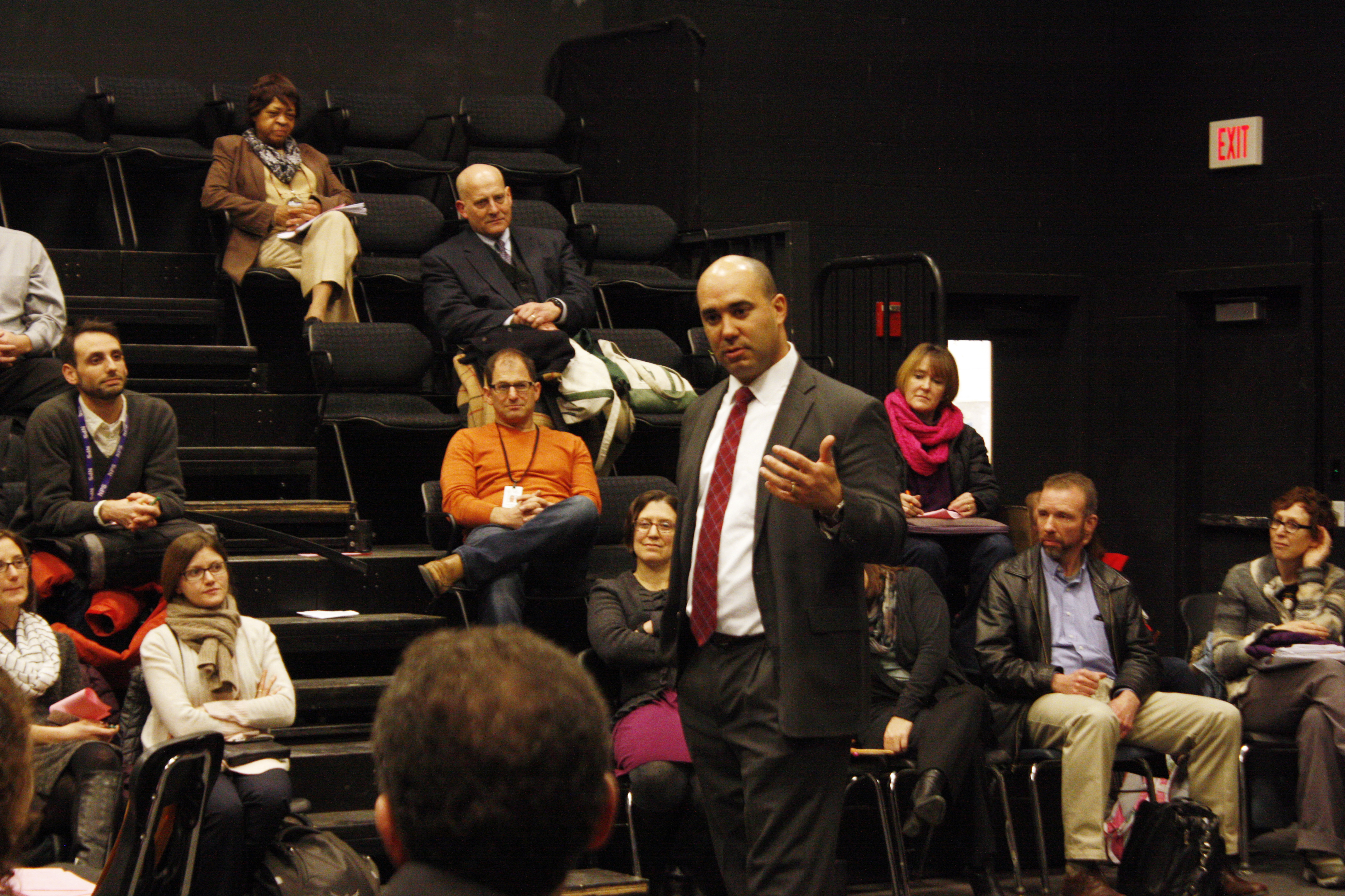 Principal search semi-finalist Henry Turner speaks to staff in the Little Theater during his visit Thursday, Jan. 11.